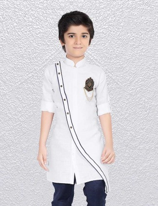 Solid ivory white party short kurta