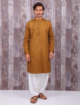 Solid khakhi cotton silk festive wear kurta suit