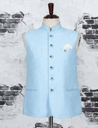 Solid light blue waistcoat for man