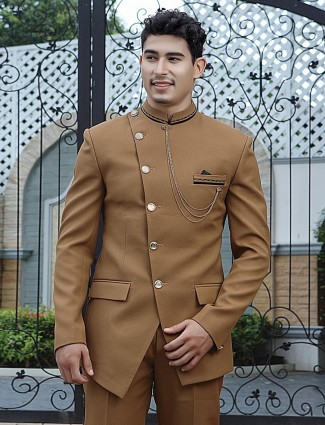 Solid light brown terry rayon party wear jodhpuri suit