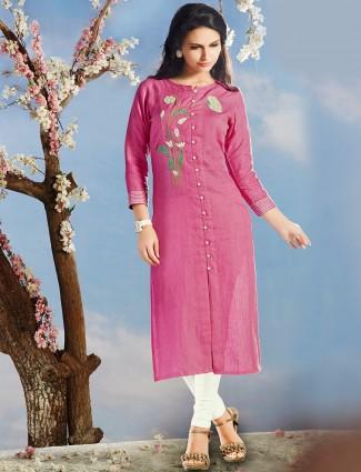 Solid linen pink kurti