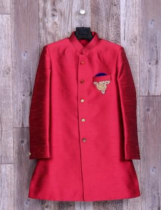 Solid magenta silk indo western