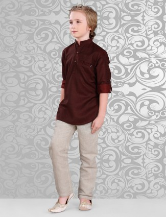 Solid maroon beige cotton pathani suit