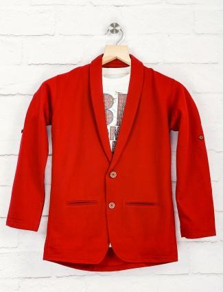 Solid maroon color party blazer