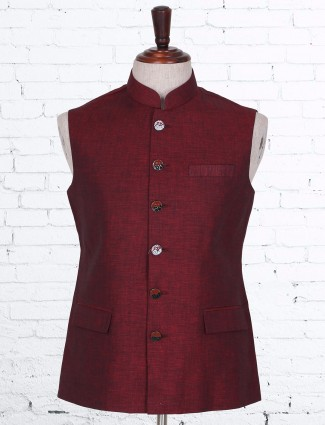 Solid maroon cotton linen waistcoat