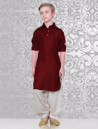 Solid maroon cotton pathani suit