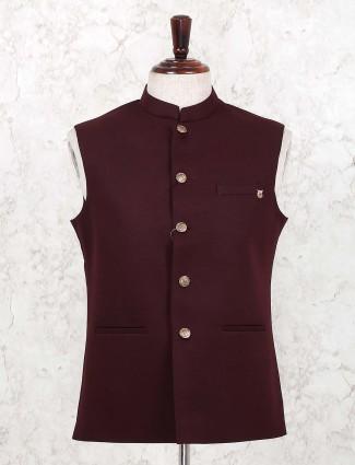 Solid maroon hue terry rayon waistcoat