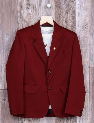 Solid maroon terry rayon blazer