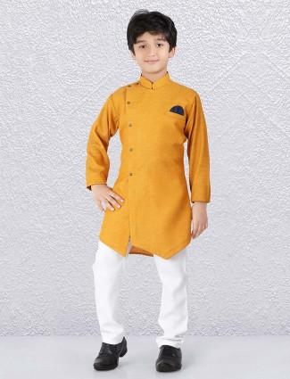 Solid mustard yellow hue cotton kurta suit