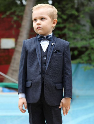 Solid navy color boys tuxedo suit