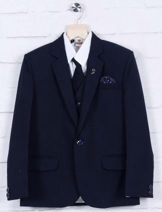 Solid navy color party wear coat suit
