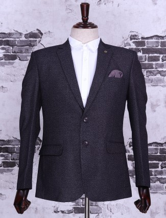 Solid navy color terry rayon blazer