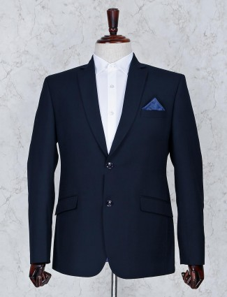Solid navy color terry rayon fabric mens blazer