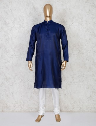 Solid navy cotton kurta suit for mens