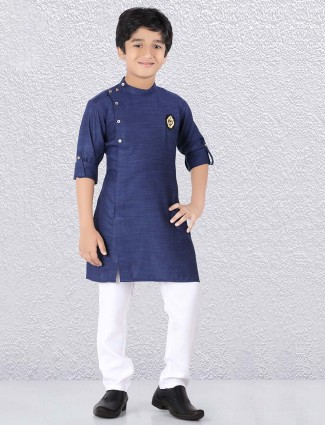 Solid navy hue bandhgala kurta suit
