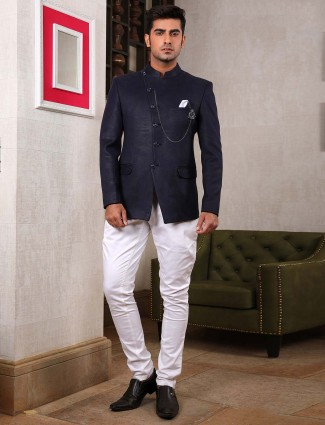 Solid navy hue jodhpuri suit for party