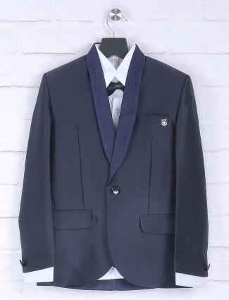 Solid navy hued terry rayon tuxedo suit