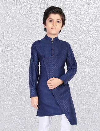 Solid navy self weaving short kurta
