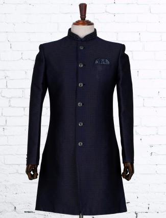 Solid navy silk dressy indo western