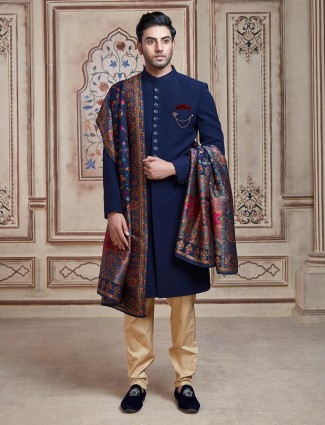 Solid navy terry rayon indo western sherwani