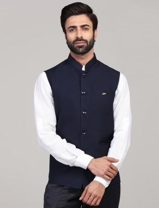 Solid navy terry rayon party wear waistcoat