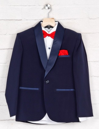 Solid navy terry rayon tuxedo suit
