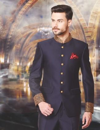 Solid navy wedding wear jodhpuri suit in terry rayon