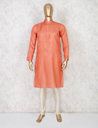 Solid orange festive wear cotton kurta suit