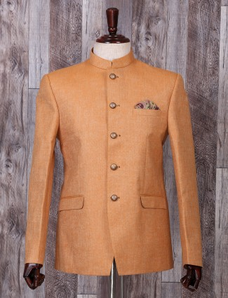 Solid orange hue jodhpuri style blazer