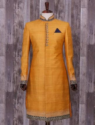 Solid orange raw silk wedding wear indo western