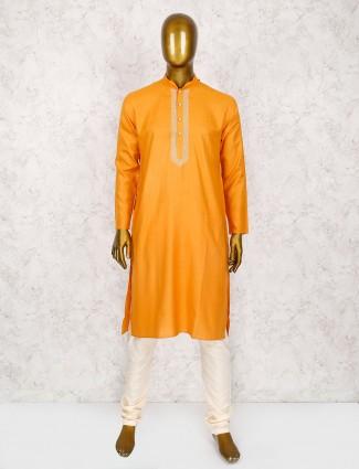 Solid orange simple cotton kurta suit