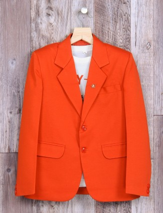 Solid orange terry rayon blazer