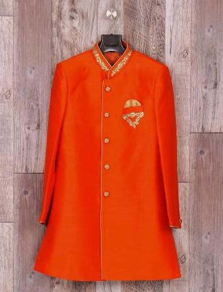 Solid orange wedding wear indo western in silk fabric