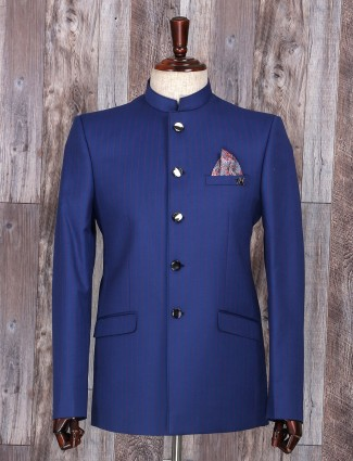 Solid party wear blue jodhpuri suit