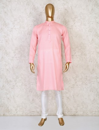Solid peach cotton festive days kurta suit