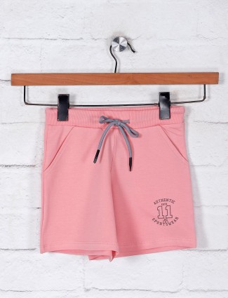 Solid peach cotton girls shorts