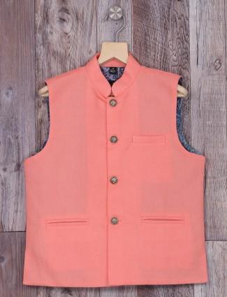 Solid peach festive wear terry rayon waistcoat