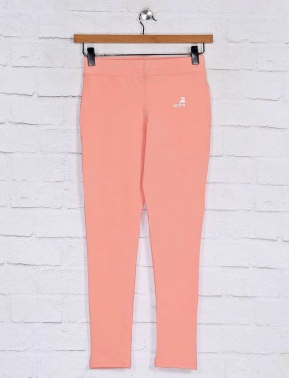 Solid peach track pant in cotton