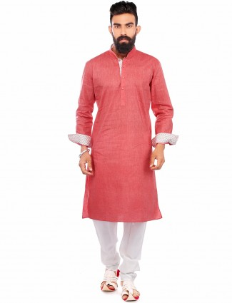 Solid pink casual wear cotton Kurta Suit
