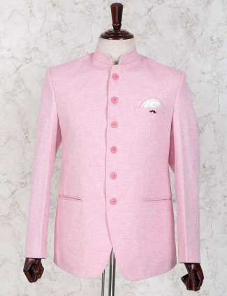 Solid pink color cotton jute jodhpuri blazer