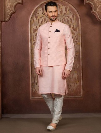Solid pink color mens party waistcoat set