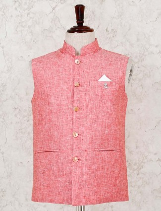 Solid pink cotton linen party wear waistcoat
