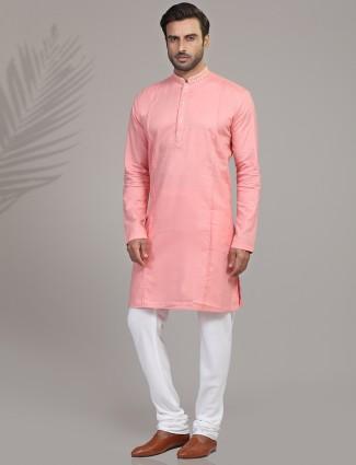 Solid pink cotton silk kurta suit