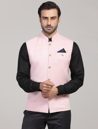 Solid pink cotton silk mens waistcoat