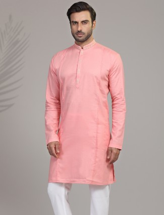 Solid pink cotton silk only kurta