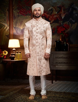 Solid pink designer sherwani for wedding