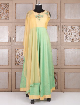 Solid pista green silk long anarkali suit