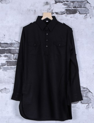 Solid plain black pathani suit