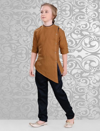 Solid plain brown festive wear kurta suit