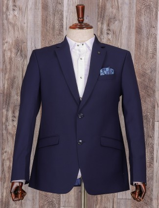 Solid plain navy terry rayon coat suit